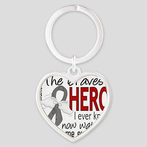 D Brain Tumor Bravest Hero I Ever K Heart Keychain