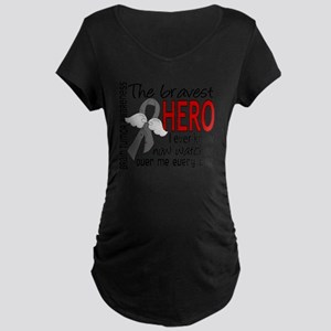 D Brain Tumor Bravest Hero  Maternity Dark T-Shirt
