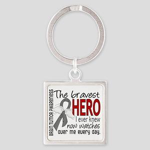 D Brain Tumor Bravest Hero I Ever  Square Keychain
