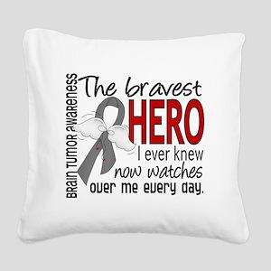 D Brain Tumor Bravest Hero I  Square Canvas Pillow