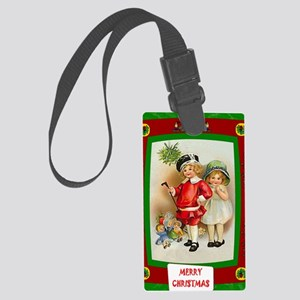 Cute kids at Christmas Large Luggage Tag