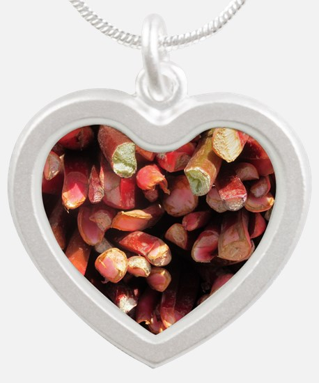 Rhubarb Silver Heart Necklace