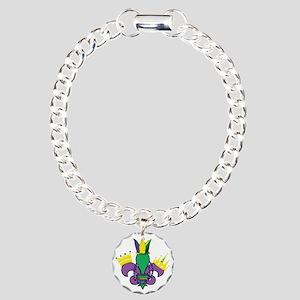 Mardi Gras Party Charm Bracelet, One Charm
