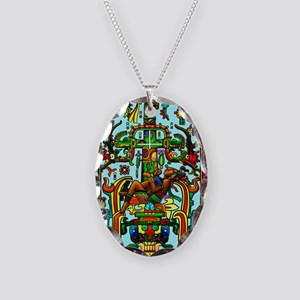 King Pakal Mayan ruler Necklace Oval Charm