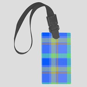 blue plaid Large Luggage Tag