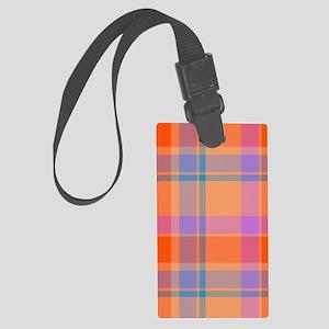 orange plaid Large Luggage Tag