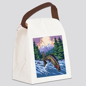 Mountain Trout Fisherman Canvas Lunch Bag