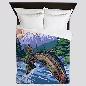 Mountain Trout Fisherman Queen Duvet