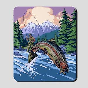 Mountain Trout Fisherman Mousepad