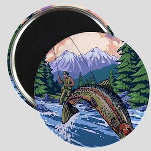 Mountain Trout Fisherman Magnet