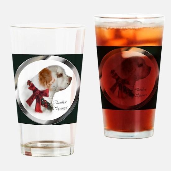 Clumber Spaniel Christmas Drinking Glass