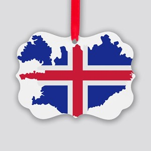 Iceland map flag Picture Ornament