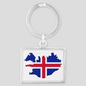 Iceland map flag Landscape Keychain