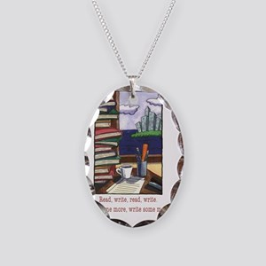 Read Write Necklace Oval Charm