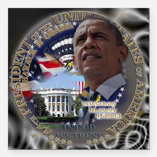 "Obama Re-elected Square Car Magnet 3"" x 3"""