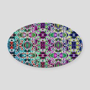 Rainbow Fractal Art Pattern Oval Car Magnet
