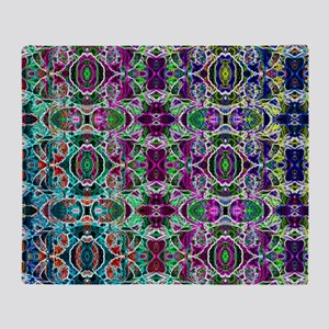 Rainbow Fractal Art Pattern Throw Blanket