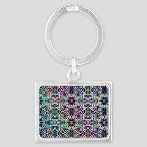 Rainbow Fractal Art Pattern Landscape Keychain