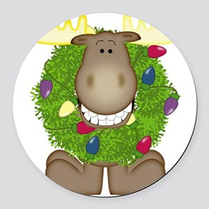 Merry Christmoose Round Car Magnet