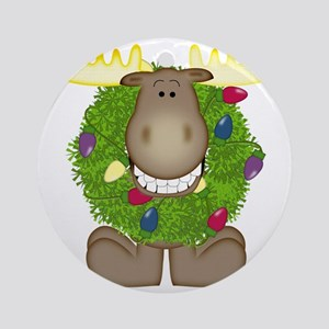 Merry Christmoose Round Ornament