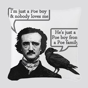 Edgar Allan Poe Riffs On Queen Woven Throw Pillow