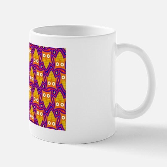 Orange Yellow and Blue Owl Pattern Mug