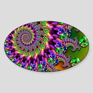Green and Purple Bokeh Fractal Patt Sticker (Oval)
