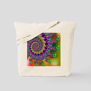 Green and Purple Bokeh Fractal Pattern Tote Bag