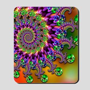 Green and Purple Bokeh Fractal Pattern Mousepad