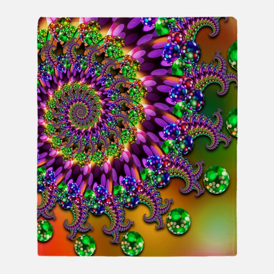 Green and Purple Bokeh Fractal Patte Throw Blanket
