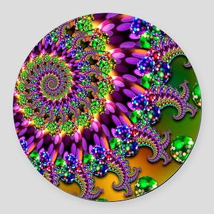 Green and Purple Bokeh Fractal Pa Round Car Magnet