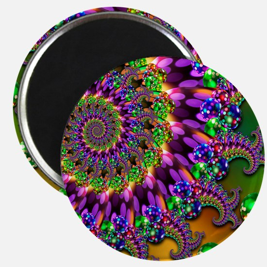 Green and Purple Bokeh Fractal Pattern Magnet