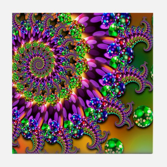 Green and Purple Bokeh Fractal Patter Tile Coaster