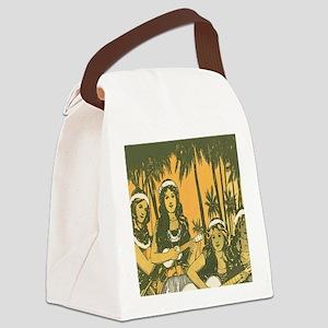 Hawaiian Ukelele Girls Canvas Lunch Bag