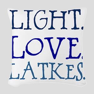 Light. Love. Latkes. Woven Throw Pillow