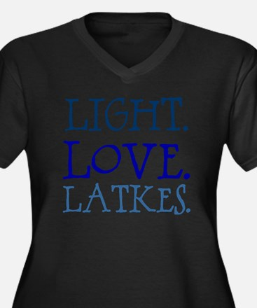 Light. Love. Women's Plus Size Dark V-Neck T-Shirt