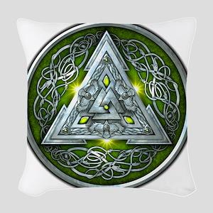 Norse Valknut - Green Woven Throw Pillow