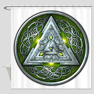 Norse Valknut - Green Shower Curtain