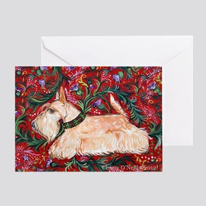 Wheaten Scottish Terrier on Red Greeting Card