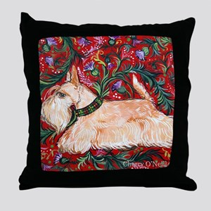 Wheaten Scottish Terrier on Red Throw Pillow