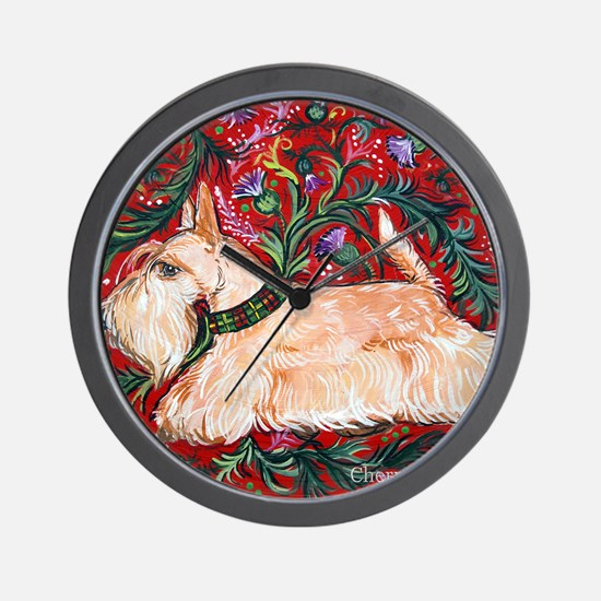 Wheaten Scottish Terrier on Red Wall Clock