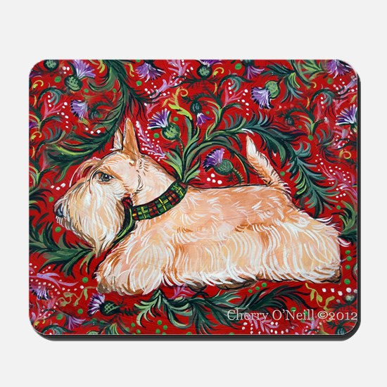 Wheaten Scottish Terrier on Red Mousepad