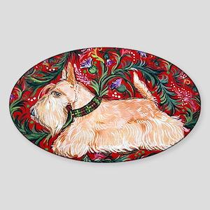 Wheaten Scottish Terrier on Red Sticker (Oval)