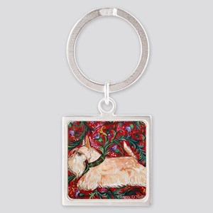 Wheaten Scottish Terrier on Red Square Keychain