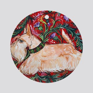 Wheaten Scottish Terrier on Red Round Ornament