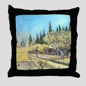 Van Gogh Flowering Fruit Garden Throw Pillow