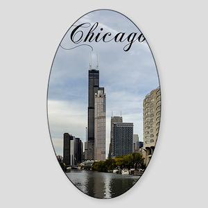 Chicago_5.5x8.5_Journal_Skyline Sticker (Oval)