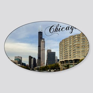 Chicago_10X8_puzzle_mousepad_Skylin Sticker (Oval)