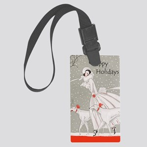Art Deco Happy Holidays Large Luggage Tag