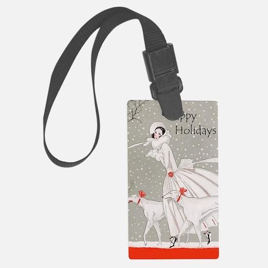 Art Deco Happy Holidays Luggage Tag